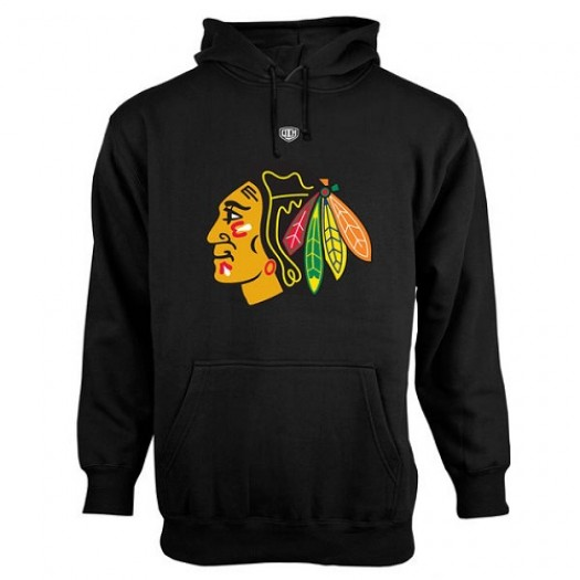 Chicago Blackhawks Men's Black Old Time Hockey Big Logo with Crest Pullover Hoodie ¨C