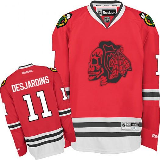 Andrew Desjardins Chicago Blackhawks Men's Reebok Authentic Red Skull Jersey