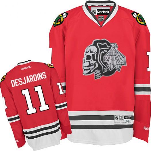 Andrew Desjardins Chicago Blackhawks Men's Reebok Premier White Red Skull Jersey