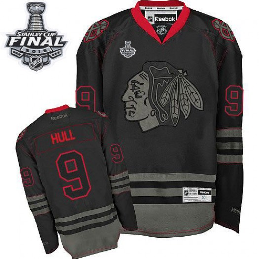 Bobby Hull Chicago Blackhawks Men's Reebok Authentic Black Ice 2015 Stanley Cup Patch Jersey