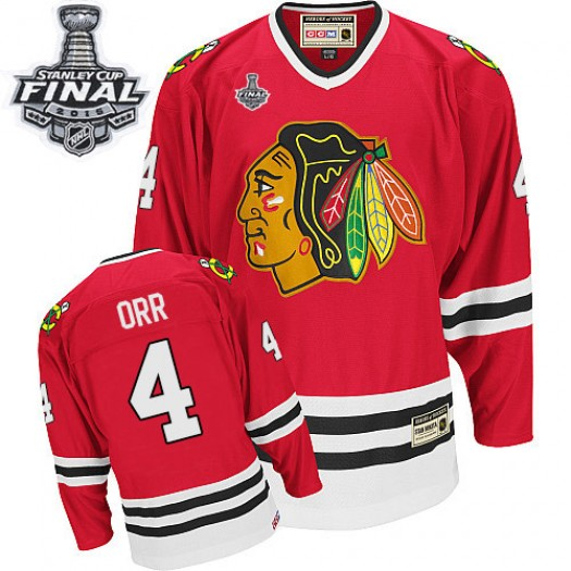 Bobby Orr Chicago Blackhawks Men's CCM Premier Red Throwback 2015 Stanley Cup Patch Jersey