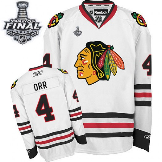 Bobby Orr Chicago Blackhawks Men's Reebok Authentic White Away 2015 Stanley Cup Patch Jersey