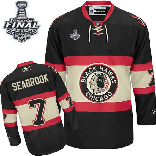 Brent Seabrook Chicago Blackhawks Men's Reebok Authentic Black New Third 2015 Stanley Cup Patch Jersey