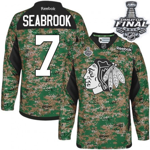 Brent Seabrook Chicago Blackhawks Men's Reebok Authentic Camo Veterans Day Practice 2015 Stanley Cup Patch Jersey