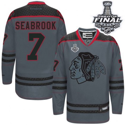 Brent Seabrook Chicago Blackhawks Men's Reebok Authentic Charcoal Cross Check Fashion 2015 Stanley Cup Patch Jersey