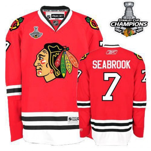 Brent Seabrook Chicago Blackhawks Men's Reebok Authentic Red 2013 Stanley Cup Champions Jersey