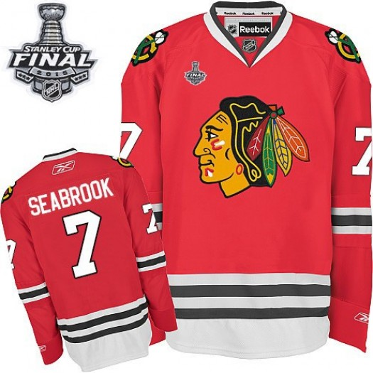 Brent Seabrook Chicago Blackhawks Men's Reebok Authentic Red Home 2015 Stanley Cup Patch Jersey