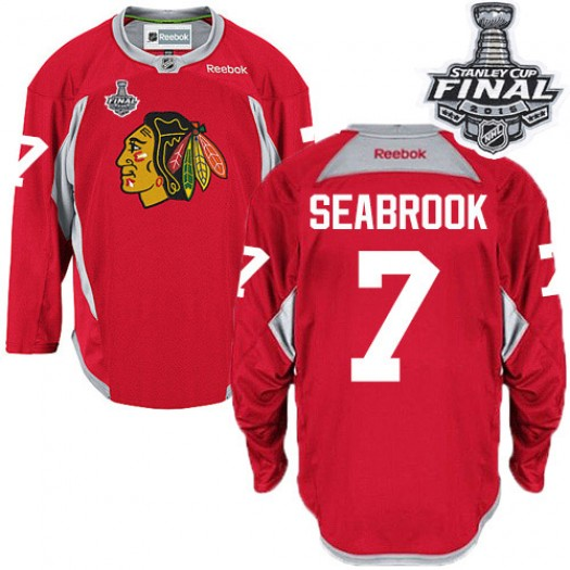 Brent Seabrook Chicago Blackhawks Men's Reebok Authentic Red Practice 2015 Stanley Cup Patch Jersey