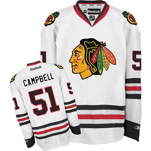 Brian Campbell Chicago Blackhawks Men's Reebok Premier White Away Jersey