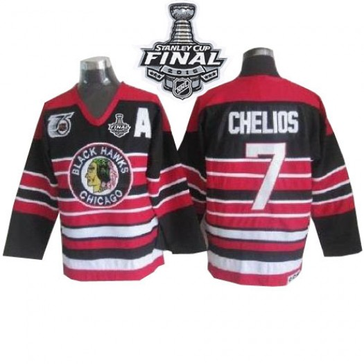 Chris Chelios Chicago Blackhawks Men's CCM Premier Red/Black 75TH Patch Throwback 2015 Stanley Cup Patch Jersey
