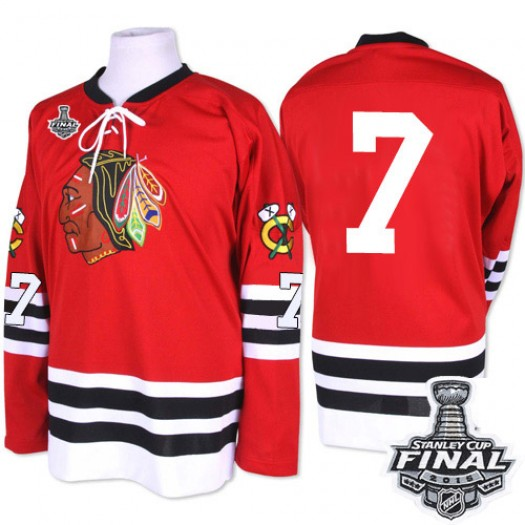 Chris Chelios Chicago Blackhawks Men's Mitchell and Ness Premier Red 1960-61 Throwback 2015 Stanley Cup Patch Jersey