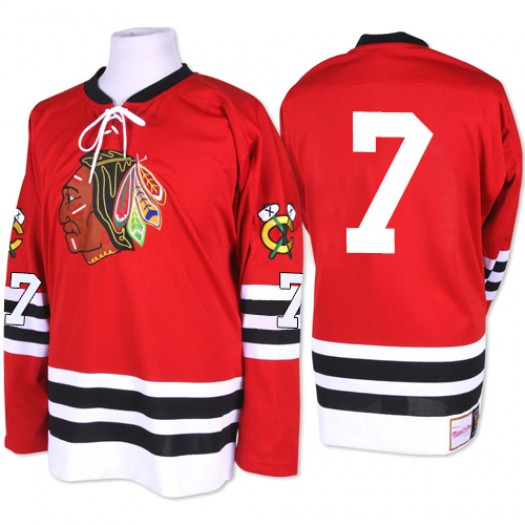 Chris Chelios Chicago Blackhawks Men's Mitchell and Ness Premier Red 1960-61 Throwback Jersey