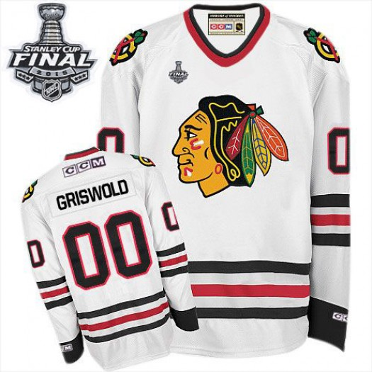 Clark Griswold Chicago Blackhawks Men's CCM Premier White Throwback 2015 Stanley Cup Patch Jersey