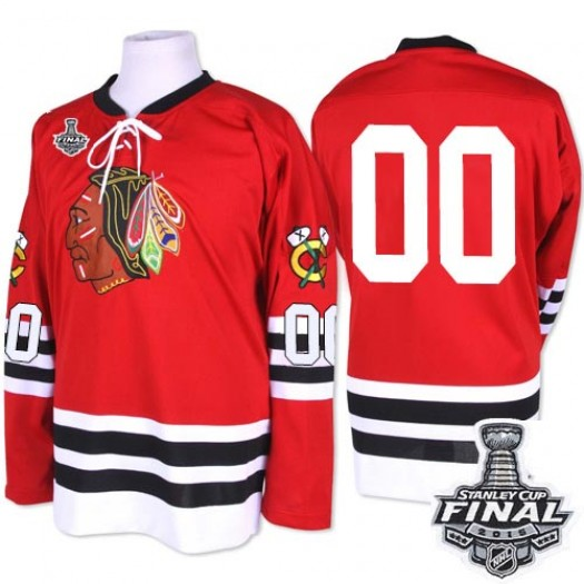 Clark Griswold Chicago Blackhawks Men's Mitchell and Ness Premier Red 1960-61 Throwback 2015 Stanley Cup Patch Jersey