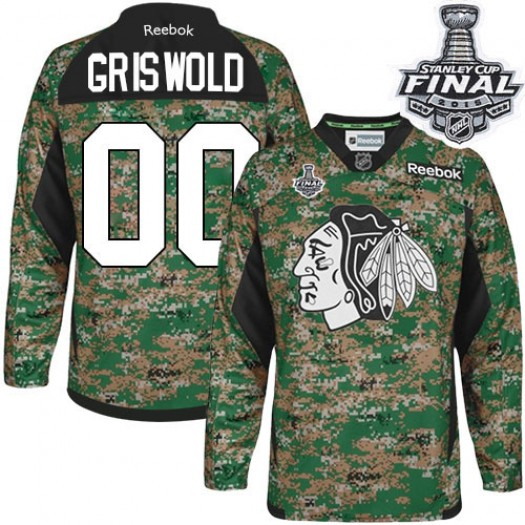 Clark Griswold Chicago Blackhawks Men's Reebok Authentic Camo Veterans Day Practice 2015 Stanley Cup Patch Jersey