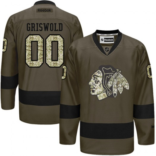 Clark Griswold Chicago Blackhawks Men's Reebok Authentic Green Salute to Service Jersey