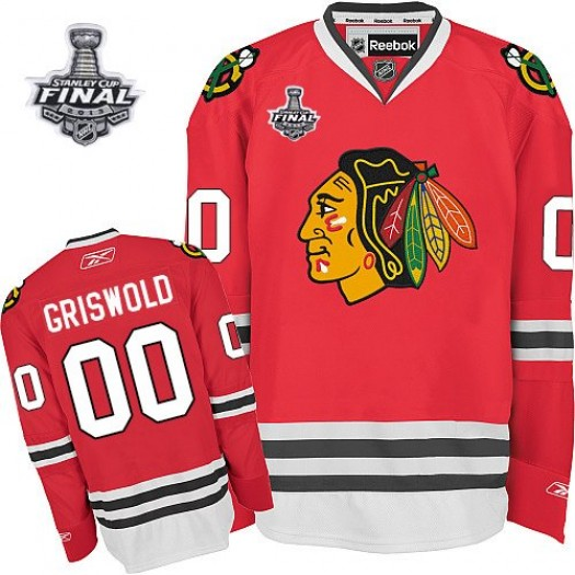 Clark Griswold Chicago Blackhawks Men's Reebok Authentic Red 2013 Stanley Cup Champions Jersey