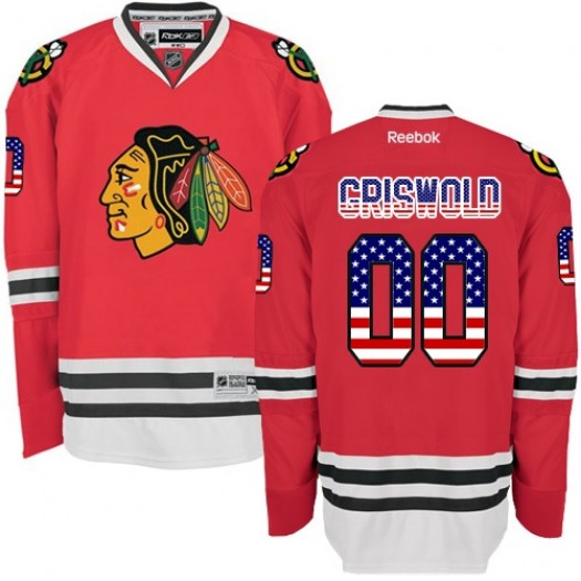 Clark Griswold Chicago Blackhawks Men's Reebok Authentic Red USA Flag Fashion Jersey