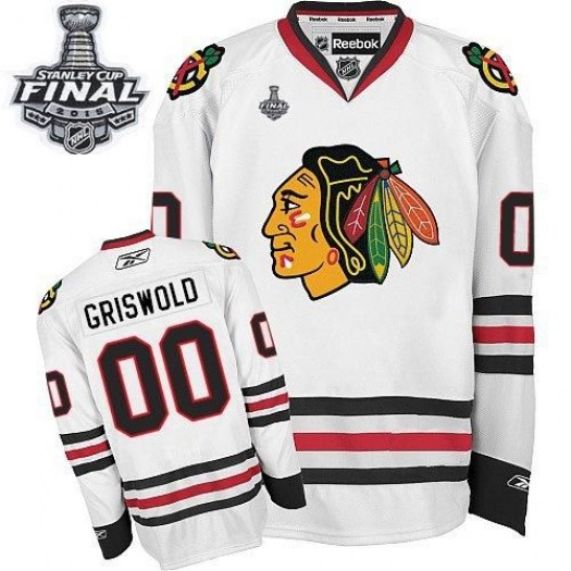 Clark Griswold Chicago Blackhawks Men's Reebok Authentic White Away 2015 Stanley Cup Patch Jersey