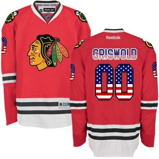 Clark Griswold Chicago Blackhawks Men's Reebok Premier Red USA Flag Fashion Jersey