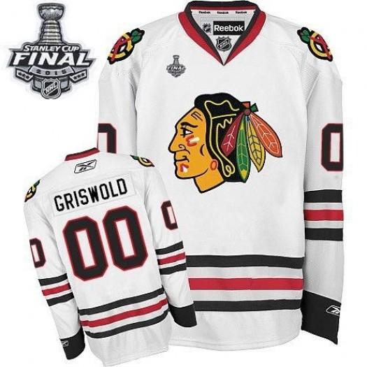 Clark Griswold Chicago Blackhawks Men's Reebok Premier White Away 2015 Stanley Cup Patch Jersey
