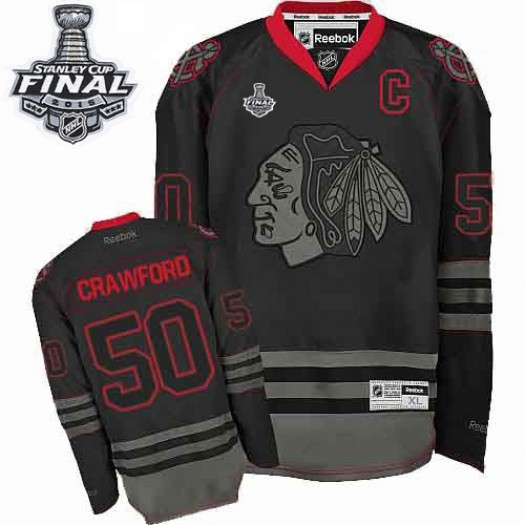 Corey Crawford Chicago Blackhawks Men's Reebok Authentic Black Ice 2015 Stanley Cup Patch Jersey