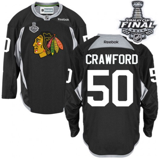 Corey Crawford Chicago Blackhawks Men's Reebok Authentic Black Practice 2015 Stanley Cup Patch Jersey