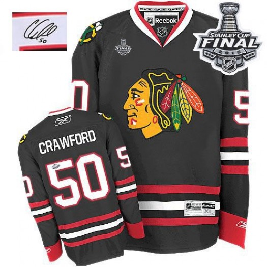 Corey Crawford Chicago Blackhawks Men's Reebok Authentic Black Third Autographed 2015 Stanley Cup Patch Jersey