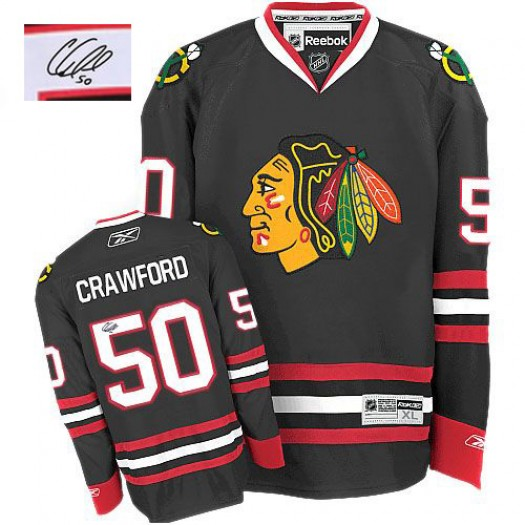 Corey Crawford Chicago Blackhawks Men's Reebok Authentic Black Third Autographed Jersey