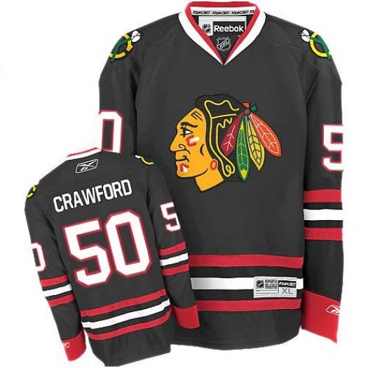 Corey Crawford Chicago Blackhawks Men's Reebok Authentic Black Third Jersey