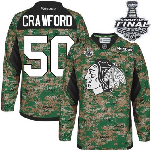 Corey Crawford Chicago Blackhawks Men's Reebok Authentic Camo Veterans Day Practice 2015 Stanley Cup Patch Jersey