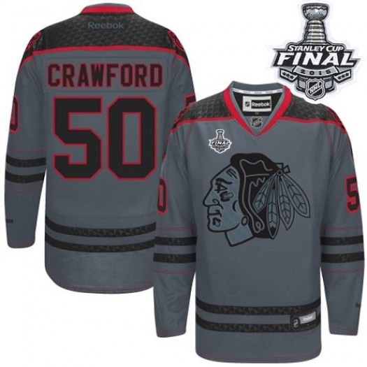 Corey Crawford Chicago Blackhawks Men's Reebok Authentic Charcoal Cross Check Fashion 2015 Stanley Cup Patch Jersey