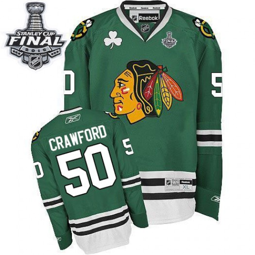 Corey Crawford Chicago Blackhawks Men's Reebok Authentic Green 2015 Stanley Cup Patch Jersey