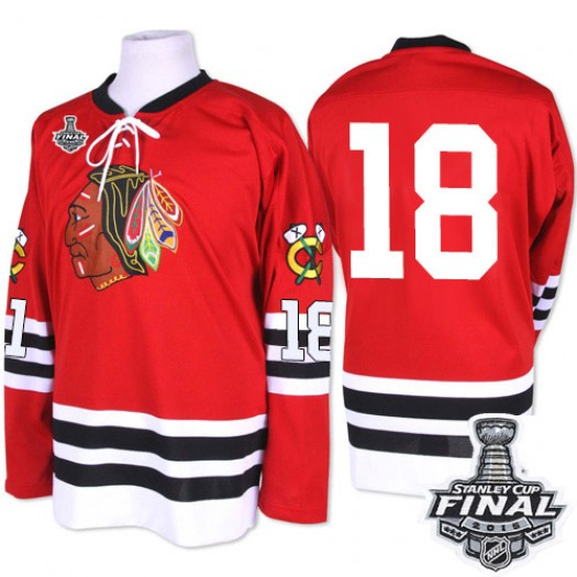 Denis Savard Chicago Blackhawks Men's Mitchell and Ness Authentic Red 1960-61 Throwback 2015 Stanley Cup Patch Jersey