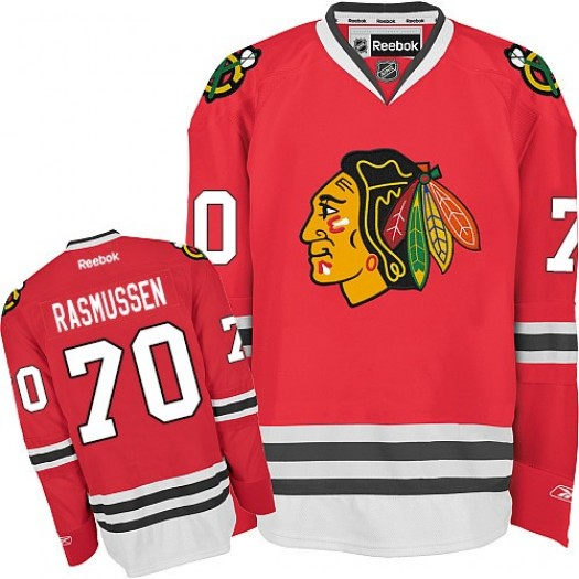 Dennis Rasmussen Chicago Blackhawks Men's Reebok Authentic Red Home Jersey