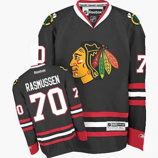 Dennis Rasmussen Chicago Blackhawks Men's Reebok Premier Black Third Jersey