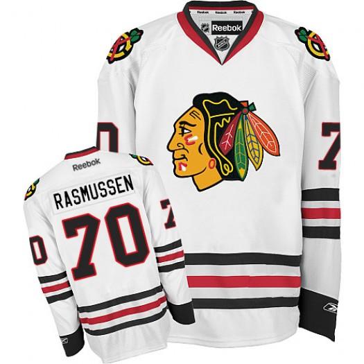 Dennis Rasmussen Chicago Blackhawks Men's Reebok Premier White Away Jersey