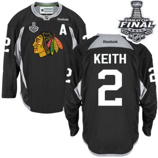 Duncan Keith Chicago Blackhawks Men's Reebok Authentic Black Practice 2015 Stanley Cup Patch Jersey