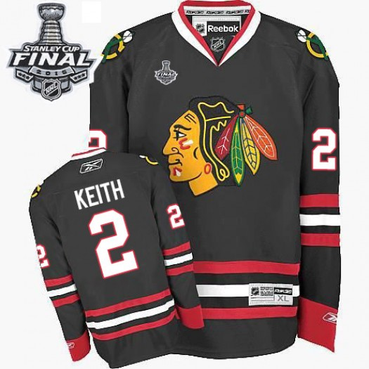 Duncan Keith Chicago Blackhawks Men's Reebok Authentic Black Third 2015 Stanley Cup Patch Jersey