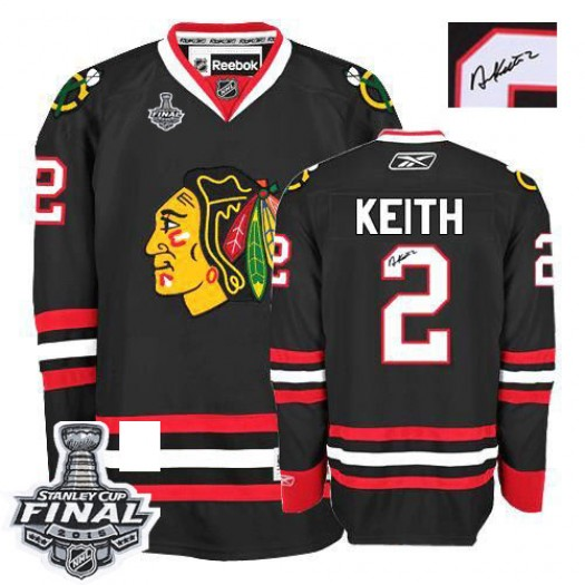Duncan Keith Chicago Blackhawks Men's Reebok Authentic Black Third Autographed 2015 Stanley Cup Patch Jersey