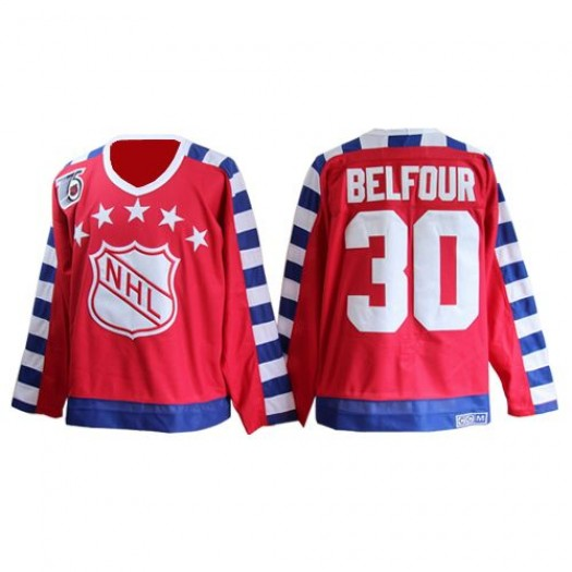 ED Belfour Chicago Blackhawks Men's CCM Authentic Red All Star 75TH Patch Throwback Jersey