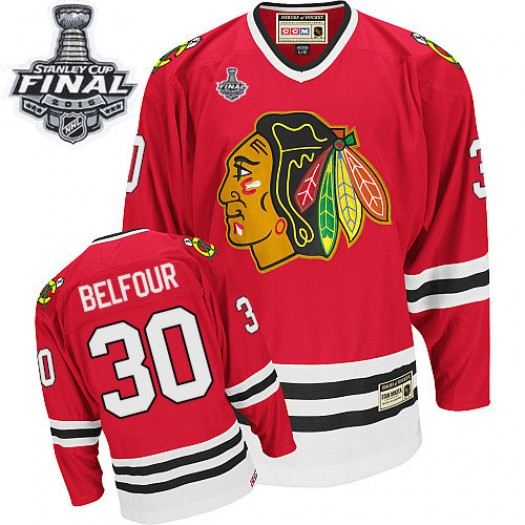 ED Belfour Chicago Blackhawks Men's CCM Authentic Red Throwback 2015 Stanley Cup Patch Jersey