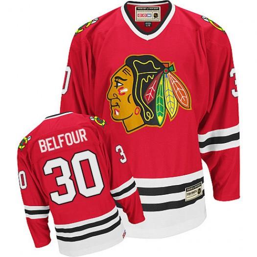 ED Belfour Chicago Blackhawks Men's CCM Authentic Red Throwback Jersey