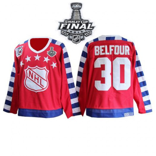 ED Belfour Chicago Blackhawks Men's CCM Premier Red All Star 75TH Patch Throwback 2015 Stanley Cup Patch Jersey