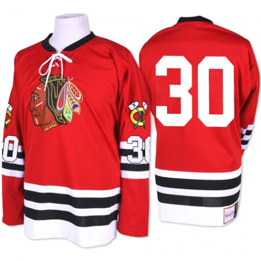 ED Belfour Chicago Blackhawks Men's Mitchell and Ness Authentic Red 1960-61 Throwback Jersey