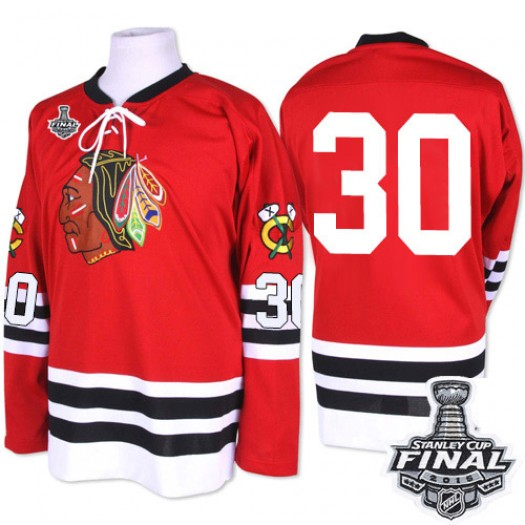 ED Belfour Chicago Blackhawks Men's Mitchell and Ness Premier Red 1960-61 Throwback 2015 Stanley Cup Patch Jersey
