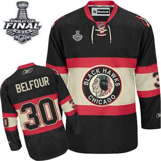 ED Belfour Chicago Blackhawks Men's Reebok Authentic Black New Third 2015 Stanley Cup Patch Jersey