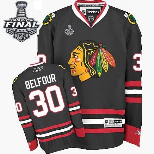 ED Belfour Chicago Blackhawks Men's Reebok Authentic Black Third 2015 Stanley Cup Patch Jersey