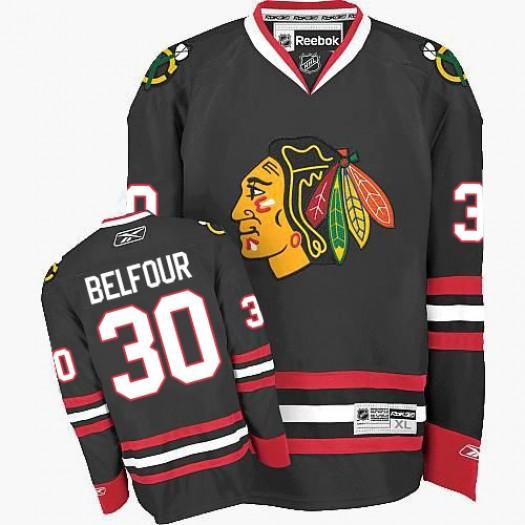 ED Belfour Chicago Blackhawks Men's Reebok Authentic Black Third Jersey