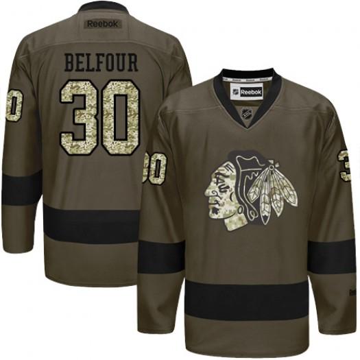 ED Belfour Chicago Blackhawks Men's Reebok Authentic Green Salute to Service Jersey